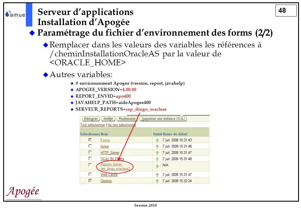 48 Apogée Session 2010 Paramétrage du fichier denvironnement des forms (2/2) Remplacer dans les valeurs des variables les références à /cheminInstalla