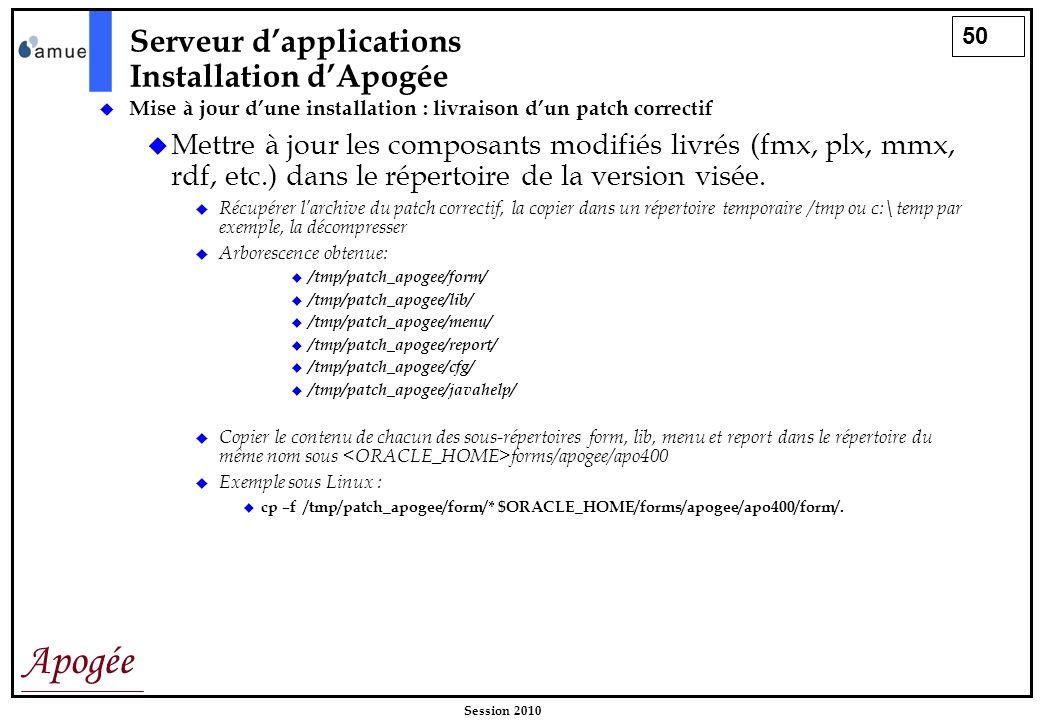 50 Apogée Session 2010 Mise à jour dune installation : livraison dun patch correctif Mettre à jour les composants modifiés livrés (fmx, plx, mmx, rdf,