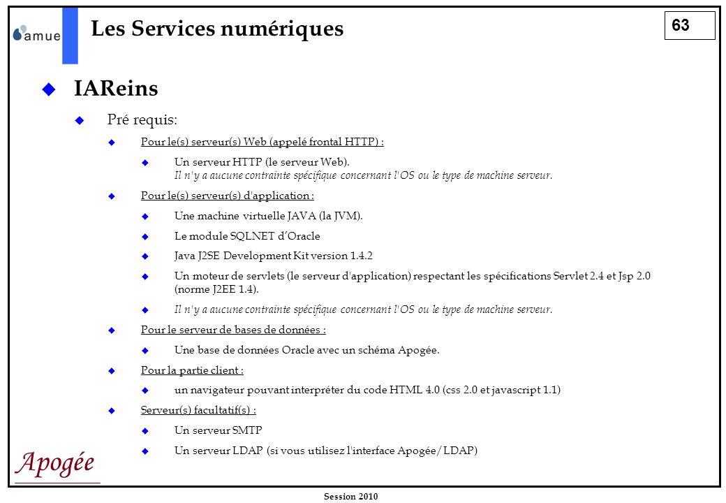 63 Apogée Session 2010 Les Services numériques IAReins Pré requis: Pour le(s) serveur(s) Web (appelé frontal HTTP) : Un serveur HTTP (le serveur Web).