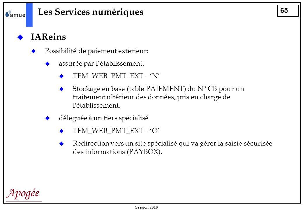 65 Apogée Session 2010 Les Services numériques IAReins Possibilité de paiement extérieur: assurée par létablissement. TEM_WEB_PMT_EXT = N Stockage en