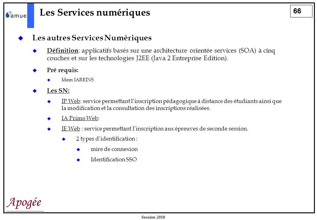 66 Apogée Session 2010 Les Services numériques Les autres Services Numériques Définition : applicatifs basés sur une architecture orientée services (S
