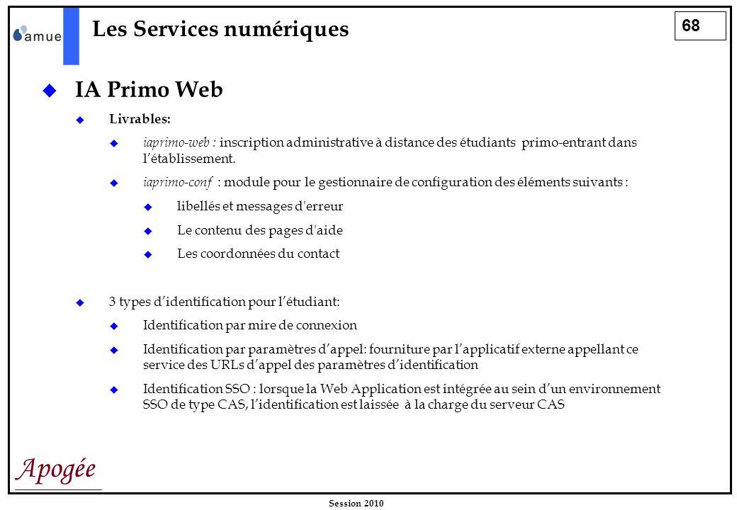 68 Apogée Session 2010 Les Services numériques IA Primo Web Livrables: iaprimo-web : inscription administrative à distance des étudiants primo-entrant