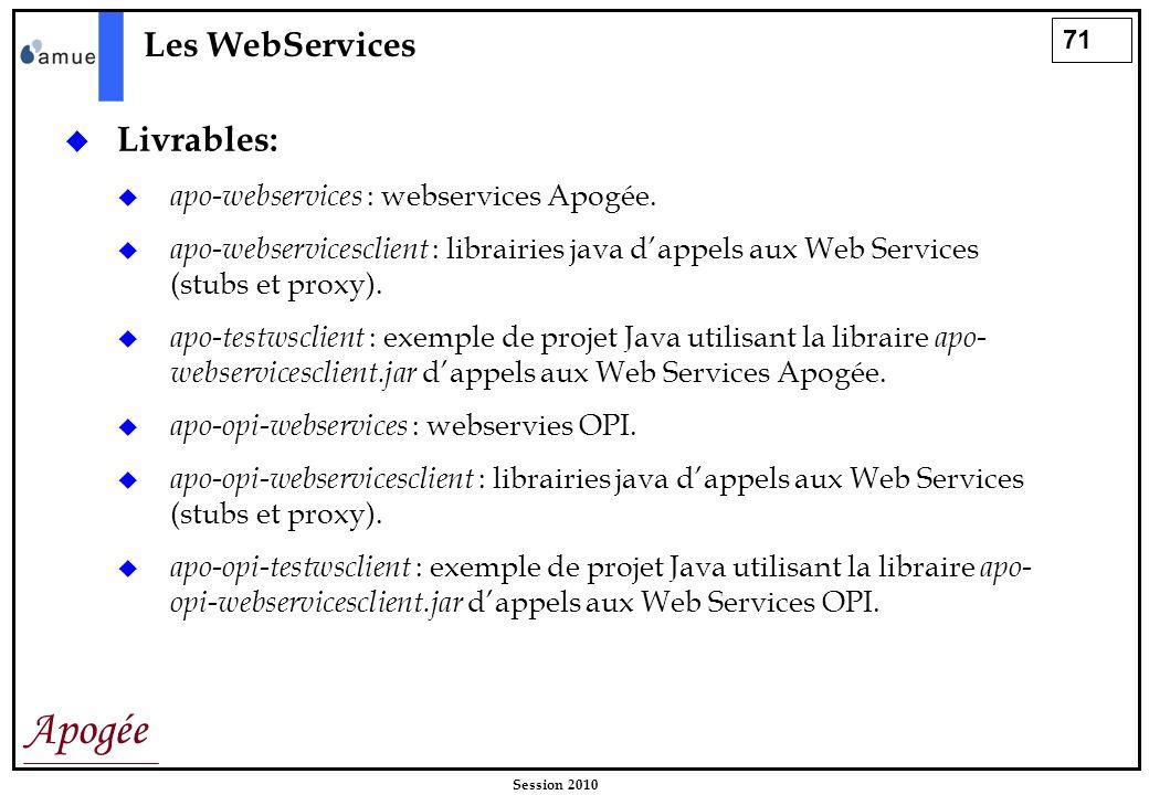 71 Apogée Session 2010 Les WebServices Livrables: apo-webservices : webservices Apogée. apo-webservicesclient : librairies java dappels aux Web Servic