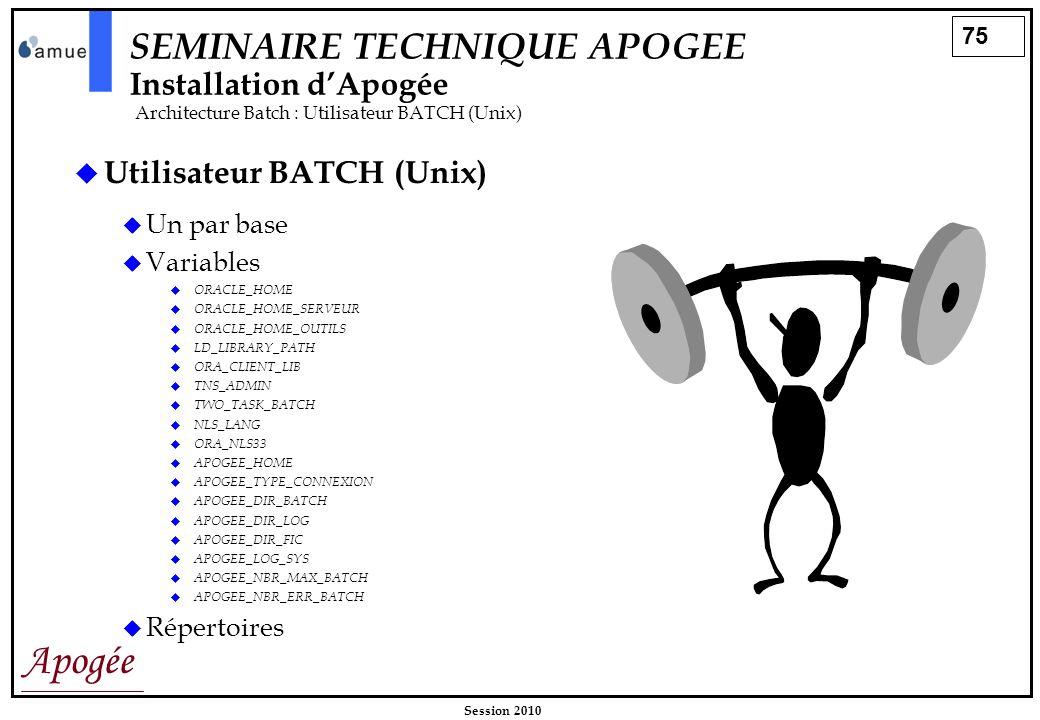 75 Apogée Session 2010 SEMINAIRE TECHNIQUE APOGEE Installation dApogée Architecture Batch : Utilisateur BATCH (Unix) Utilisateur BATCH (Unix) Un par b