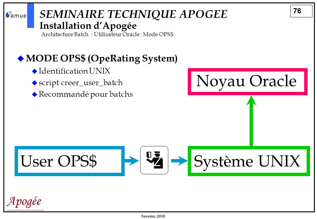 76 Apogée Session 2010 SEMINAIRE TECHNIQUE APOGEE Installation dApogée Architecture Batch : Utilisateur Oracle : Mode OPS$ MODE OPS$ (OpeRating System