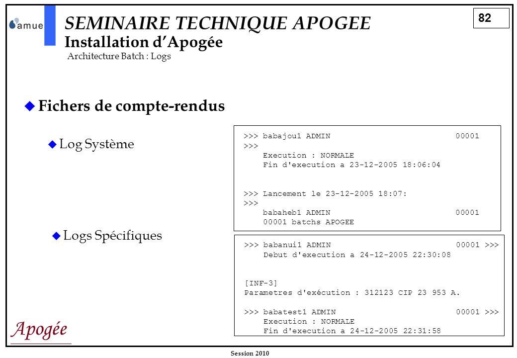 82 Apogée Session 2010 SEMINAIRE TECHNIQUE APOGEE Installation dApogée Architecture Batch : Logs Fichers de compte-rendus Log Système >>> babajou1 ADM