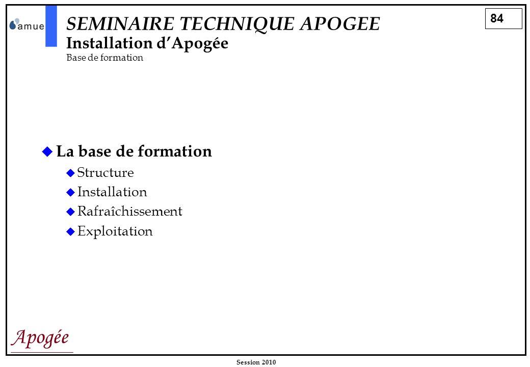 84 Apogée Session 2010 La base de formation Structure Installation Rafraîchissement Exploitation SEMINAIRE TECHNIQUE APOGEE Installation dApogée Base