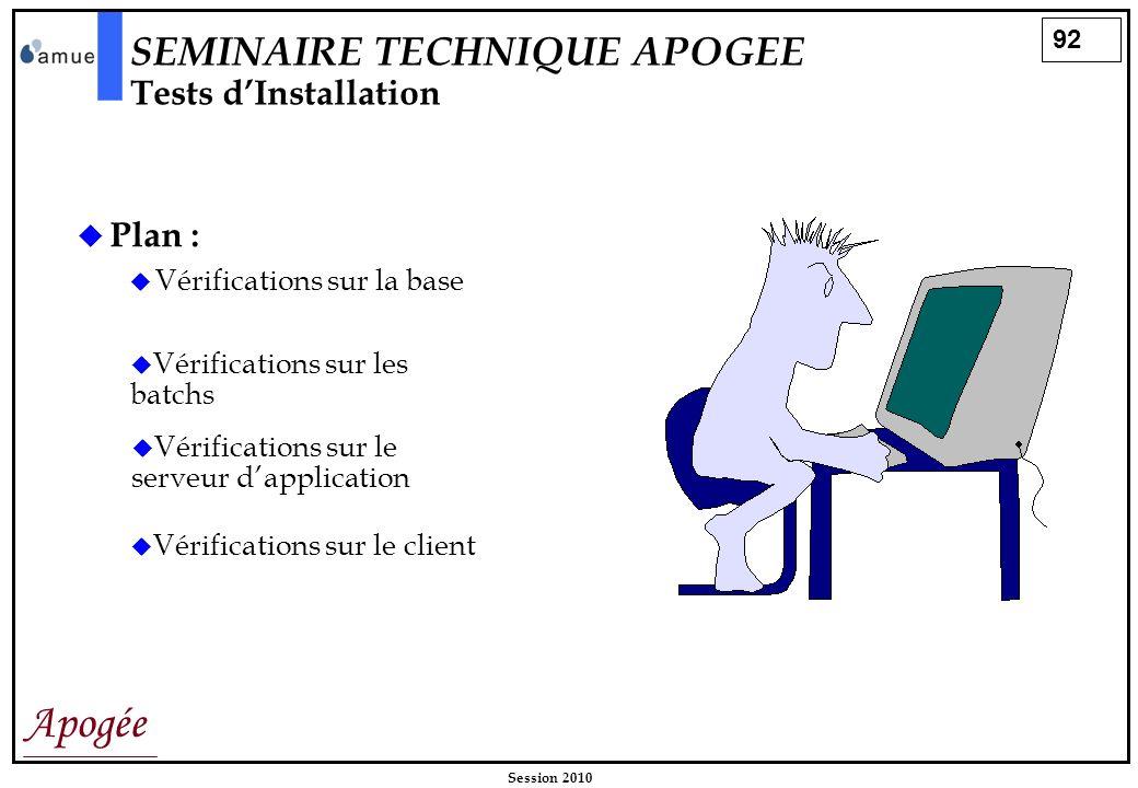 92 Apogée Session 2010 Plan : Vérifications sur la base SEMINAIRE TECHNIQUE APOGEE Tests dInstallation Vérifications sur les batchs Vérifications sur