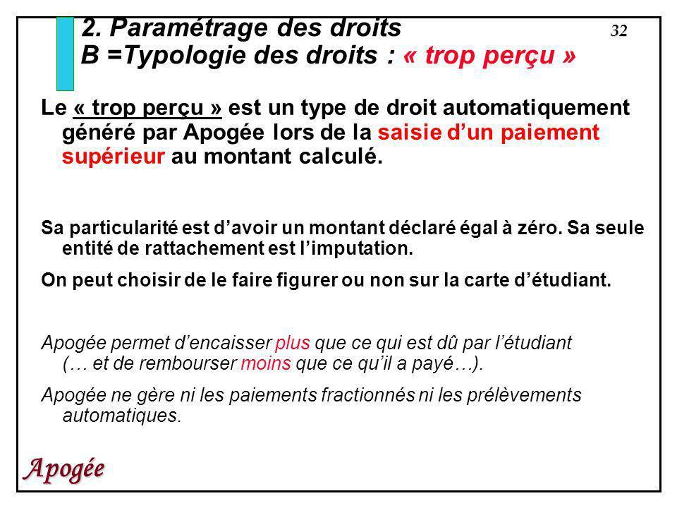 32 Apogée 2. Paramétrage des droits B =Typologie des droits : « trop perçu » Le « trop perçu » est un type de droit automatiquement généré par Apogée