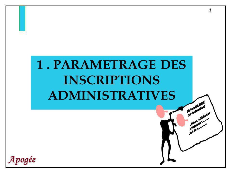 4 Apogée 1. PARAMETRAGE DES INSCRIPTIONS ADMINISTRATIVES