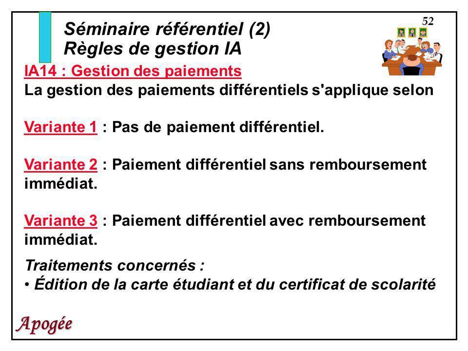 52 Apogée IA14 : Gestion des paiements La gestion des paiements différentiels s'applique selon Variante 1 : Pas de paiement différentiel. Variante 2 :