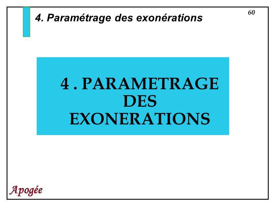 60 Apogée 4. PARAMETRAGE DES EXONERATIONS 4. Paramétrage des exonérations