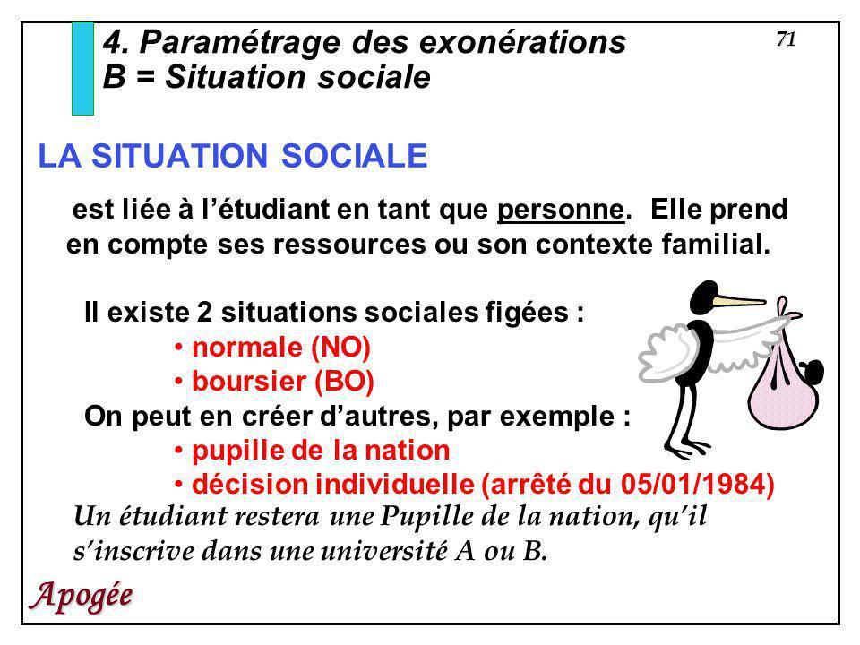 71 Apogée 4. Paramétrage des exonérations B = Situation sociale est liée à létudiant en tant que personne. Elle prend en compte ses ressources ou son