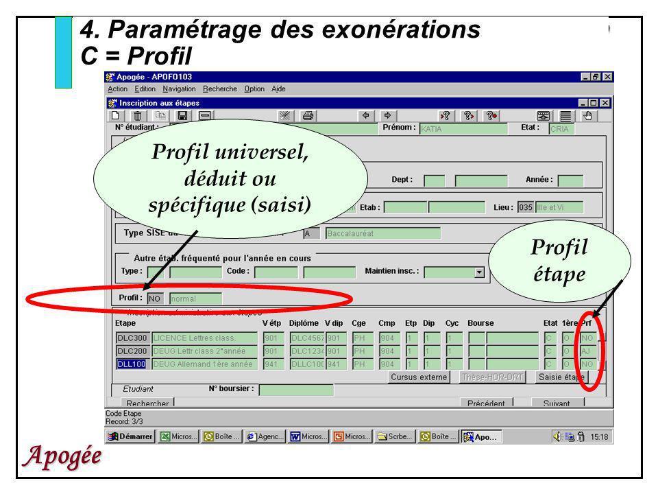 80 Apogée 4. Paramétrage des exonérations C = Profil Profil universel, déduit ou spécifique (saisi) Profil étape
