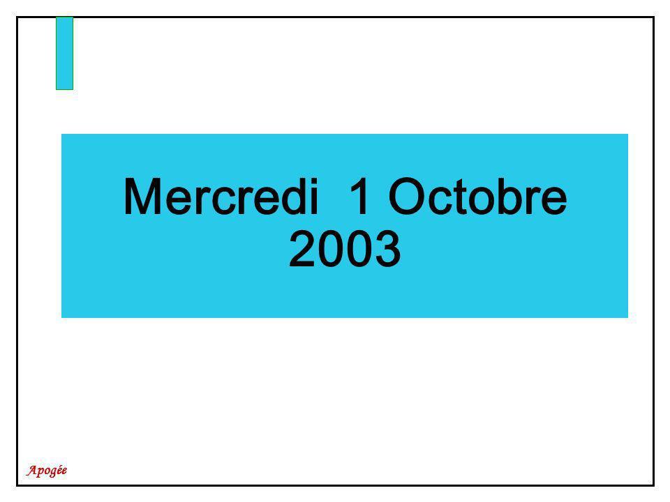 Apogée Mercredi 1 Octobre 2003