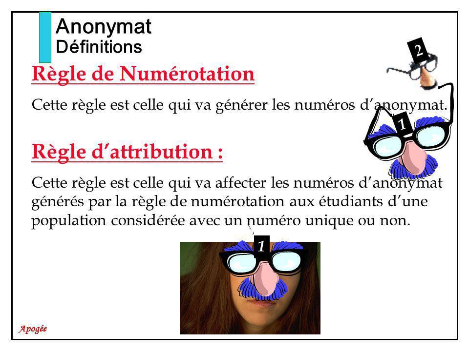Apogée Règle de Numérotation Cette règle est celle qui va générer les numéros danonymat.