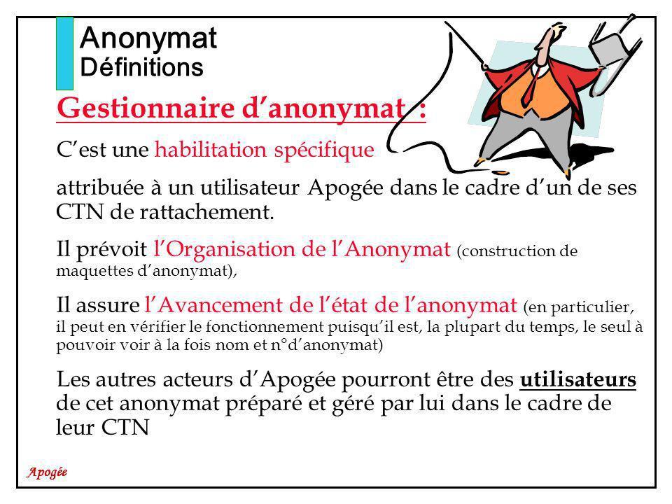 Apogée Gestionnaire danonymat : Cest une habilitation spécifique attribuée à un utilisateur Apogée dans le cadre dun de ses CTN de rattachement.