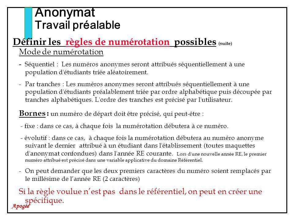 Apogée Définir les règles de numérotation possibles (suite) Mode de numérotation - Séquentiel : Les numéros anonymes seront attribués séquentiellement à une population d étudiants triée aléatoirement.