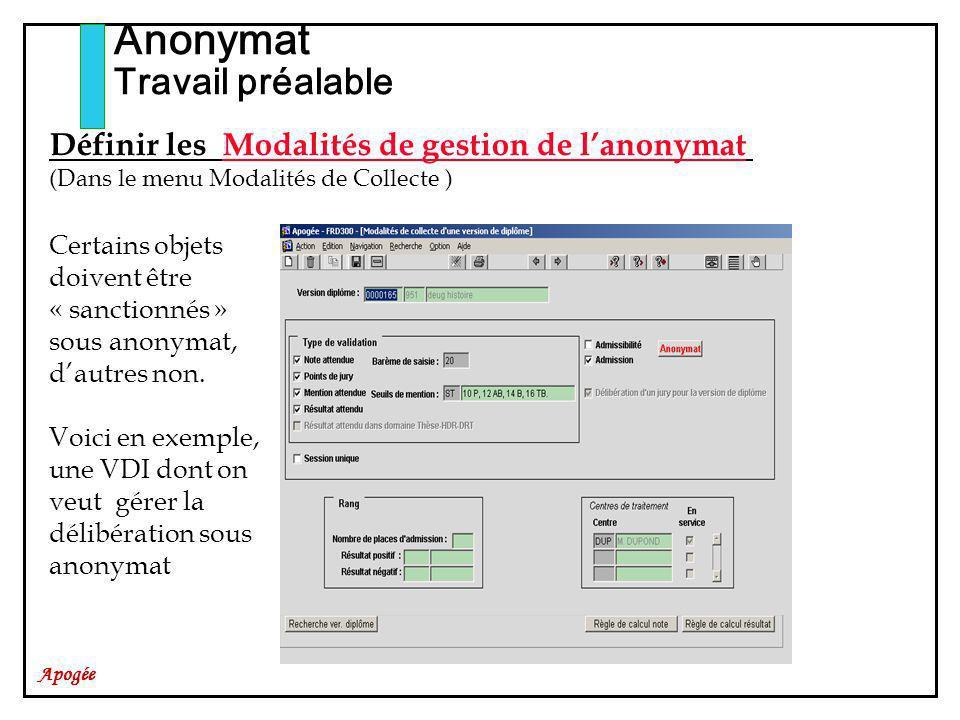 Apogée Anonymat Travail préalable Certains objets doivent être « sanctionnés » sous anonymat, dautres non. Voici en exemple, une VDI dont on veut gére