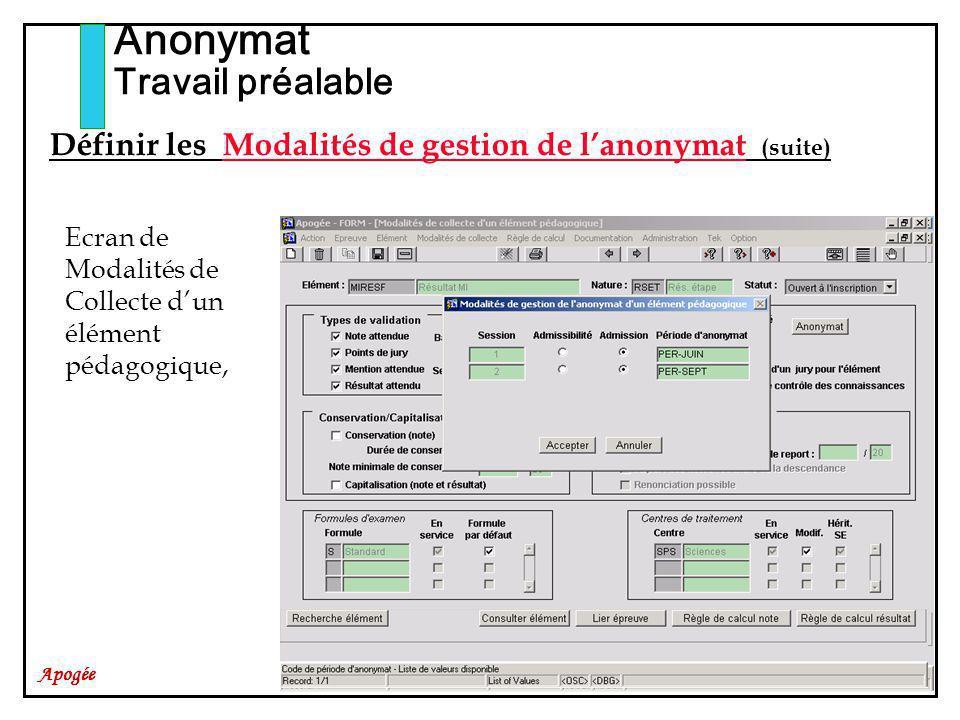 Apogée Anonymat Travail préalable Ecran de Modalités de Collecte dun élément pédagogique, Définir les Modalités de gestion de lanonymat (suite)