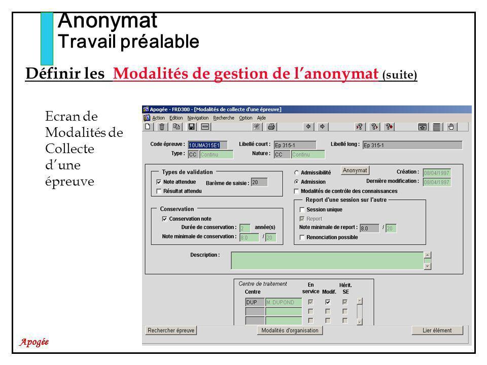 Apogée Anonymat Travail préalable Ecran de Modalités de Collecte dune épreuve Définir les Modalités de gestion de lanonymat (suite)