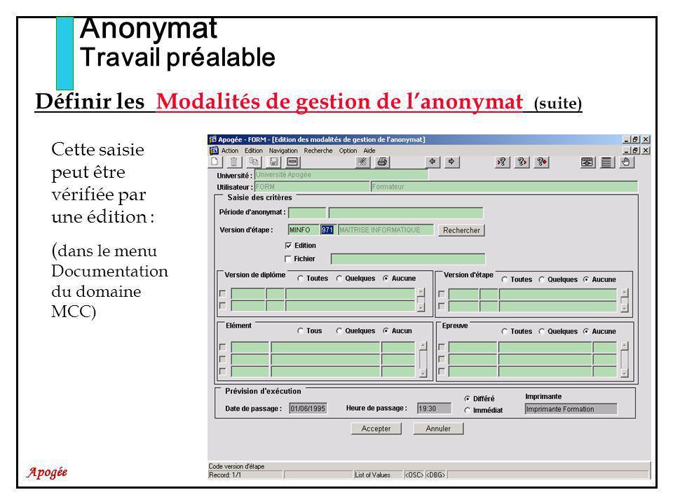 Apogée Anonymat Travail préalable Cette saisie peut être vérifiée par une édition : ( dans le menu Documentation du domaine MCC) Définir les Modalités de gestion de lanonymat (suite)