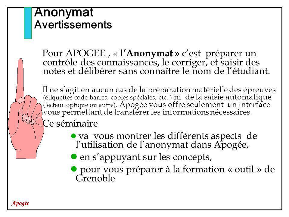 Apogée Pour APOGEE, « lAnonymat » cest préparer un contrôle des connaissances, le corriger, et saisir des notes et délibérer sans connaître le nom de létudiant.