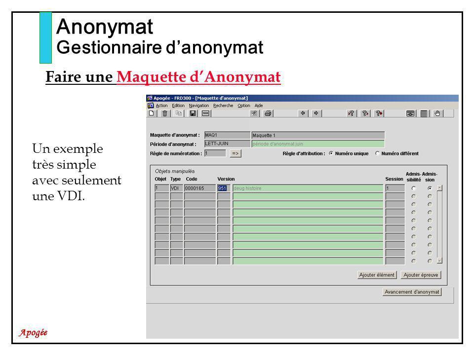 Apogée Anonymat Gestionnaire danonymat Faire une Maquette dAnonymat Un exemple très simple avec seulement une VDI.