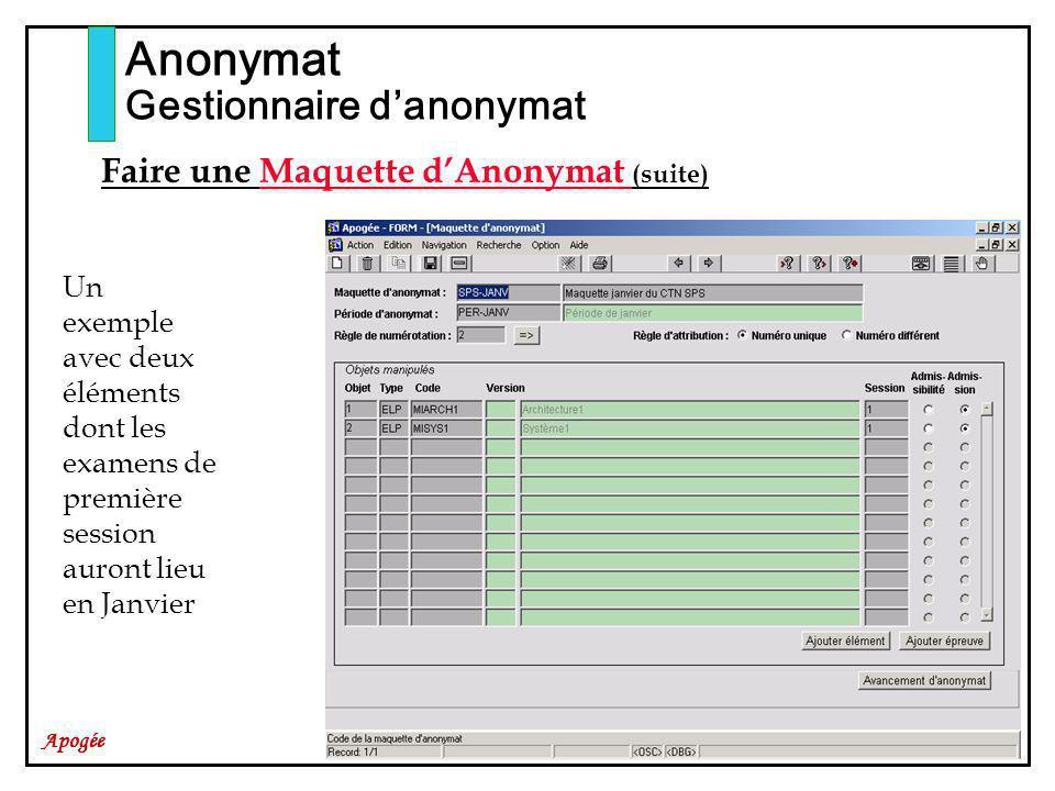 Apogée Anonymat Gestionnaire danonymat Faire une Maquette dAnonymat (suite) Un exemple avec deux éléments dont les examens de première session auront lieu en Janvier