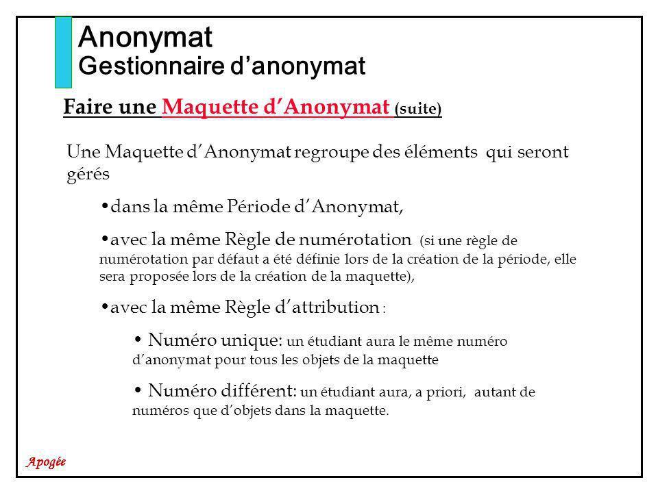 Apogée Anonymat Gestionnaire danonymat Faire une Maquette dAnonymat (suite) Une Maquette dAnonymat regroupe des éléments qui seront gérés dans la même
