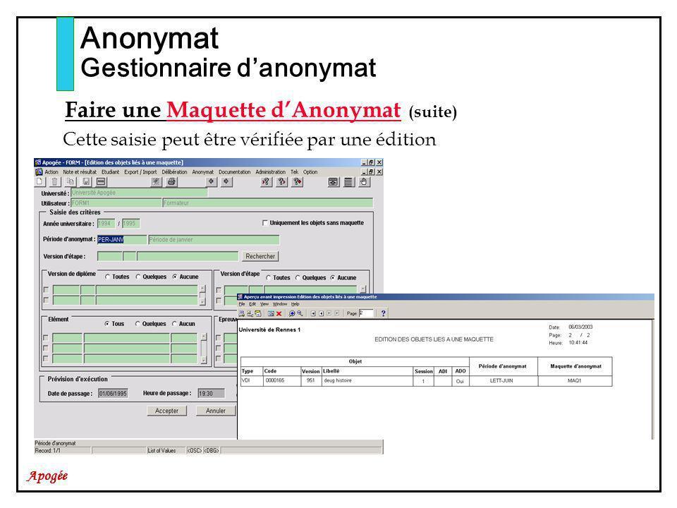 Apogée Anonymat Gestionnaire danonymat Faire une Maquette dAnonymat (suite) Cette saisie peut être vérifiée par une édition