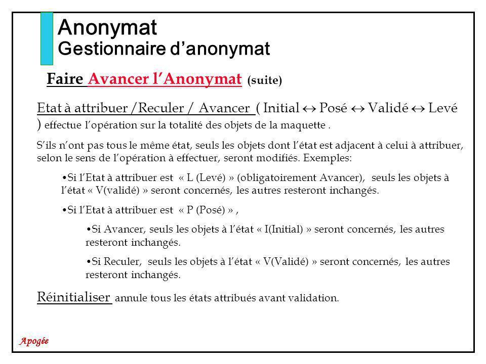 Apogée Anonymat Gestionnaire danonymat Faire Avancer lAnonymat (suite) Etat à attribuer /Reculer / Avancer ( Initial Posé Validé Levé ) effectue lopération sur la totalité des objets de la maquette.