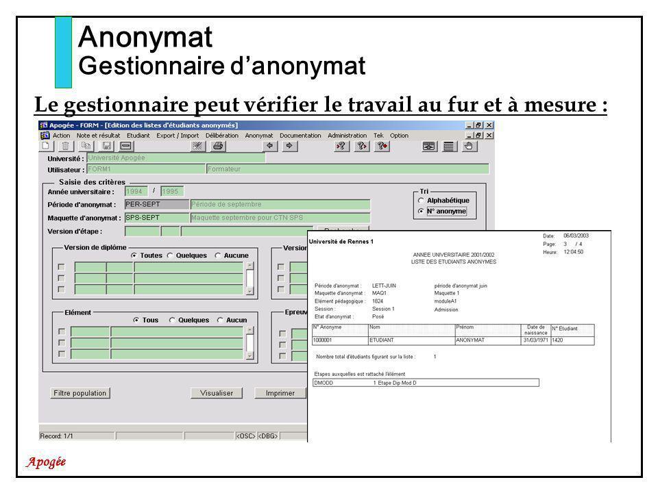 Apogée Anonymat Gestionnaire danonymat Le gestionnaire peut vérifier le travail au fur et à mesure :