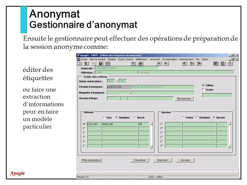 Apogée Anonymat Gestionnaire danonymat Ensuite le gestionnaire peut effectuer des opérations de préparation de la session anonyme comme: éditer des étiquettes ou faire une extraction dinformations pour en faire un modèle particulier