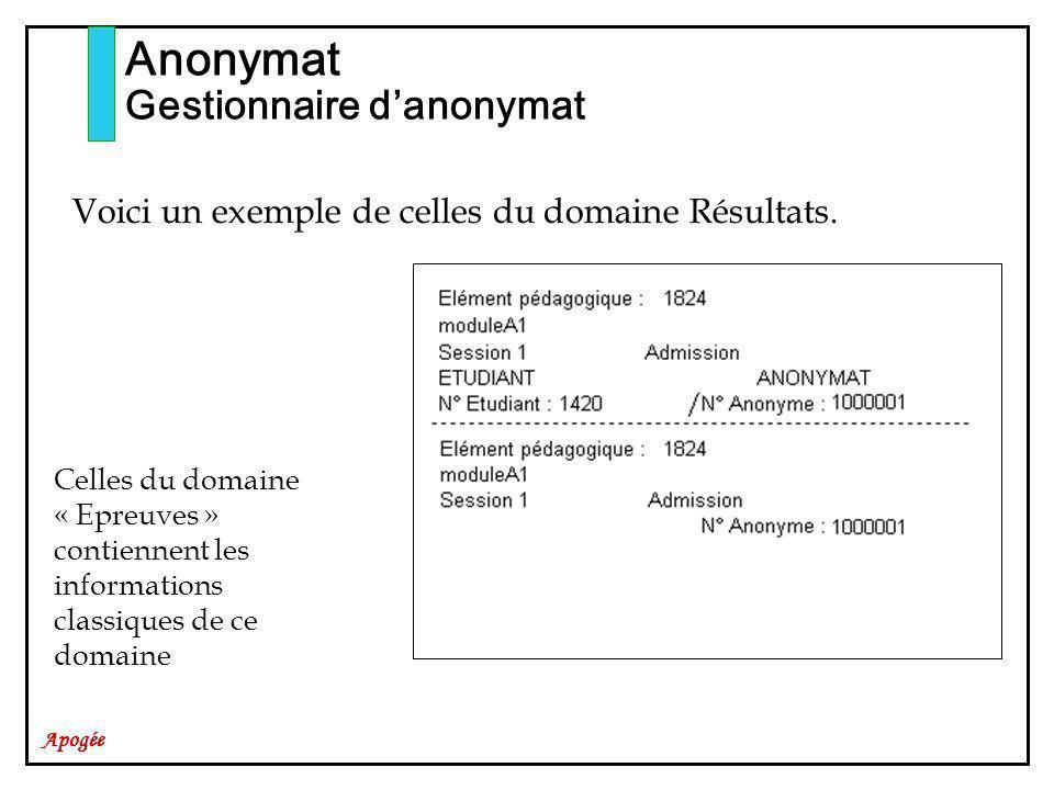 Apogée Anonymat Gestionnaire danonymat Celles du domaine « Epreuves » contiennent les informations classiques de ce domaine Voici un exemple de celles du domaine Résultats.