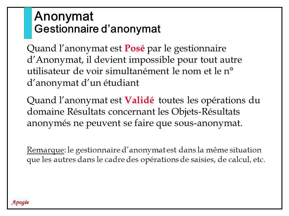Apogée Anonymat Gestionnaire danonymat Quand lanonymat est Posé par le gestionnaire dAnonymat, il devient impossible pour tout autre utilisateur de vo