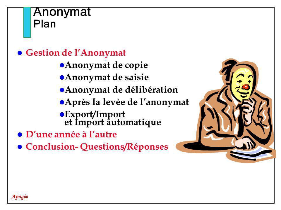 Apogée Gestion de lAnonymat Anonymat de copie Anonymat de saisie Anonymat de délibération Après la levée de lanonymat Export/Import et Import automati