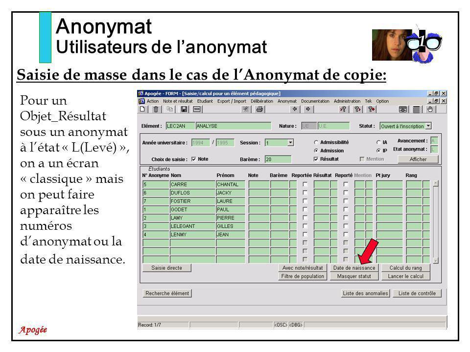 Apogée Anonymat Utilisateurs de lanonymat Saisie de masse dans le cas de lAnonymat de copie: Pour un Objet_Résultat sous un anonymat à létat « L(Levé)