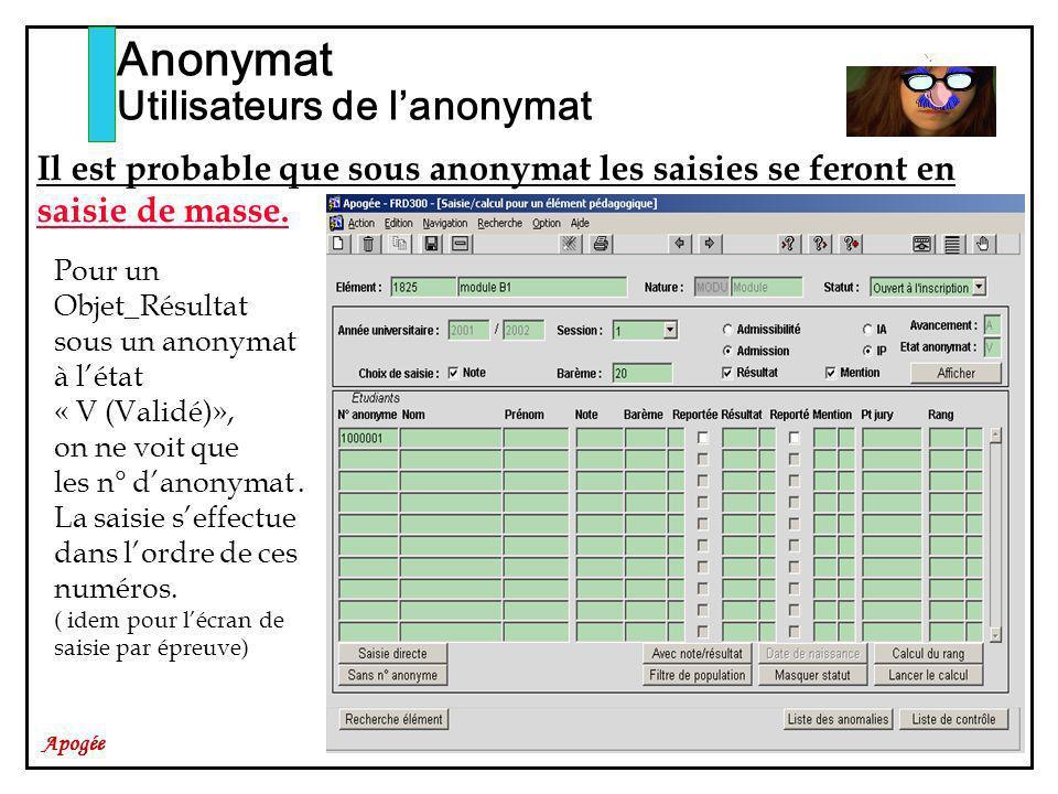 Apogée Anonymat Utilisateurs de lanonymat Il est probable que sous anonymat les saisies se feront en saisie de masse. Pour un Objet_Résultat sous un a