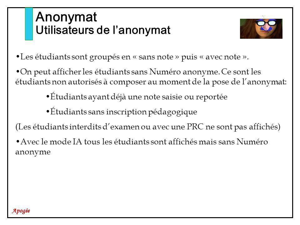 Apogée Anonymat Utilisateurs de lanonymat Les étudiants sont groupés en « sans note » puis « avec note ». On peut afficher les étudiants sans Numéro a