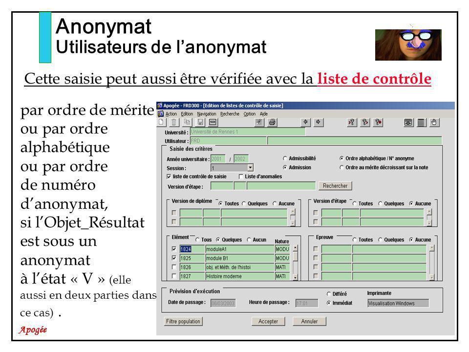 Apogée Anonymat Utilisateurs de lanonymat Cette saisie peut aussi être vérifiée avec la liste de contrôle par ordre de mérite ou par ordre alphabétique ou par ordre de numéro danonymat, si lObjet_Résultat est sous un anonymat à létat « V » (elle aussi en deux parties dans ce cas).