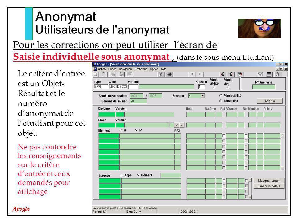 Apogée Anonymat Utilisateurs de lanonymat Pour les corrections on peut utiliser lécran de Saisie individuelle sous anonymat, (dans le sous-menu Etudiant) Le critère dentrée est un Objet- Résultat et le numéro danonymat de létudiant pour cet objet.