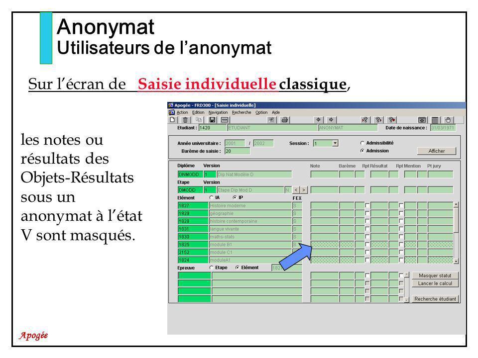 Apogée Anonymat Utilisateurs de lanonymat les notes ou résultats des Objets-Résultats sous un anonymat à létat V sont masqués. Sur lécran de Saisie in