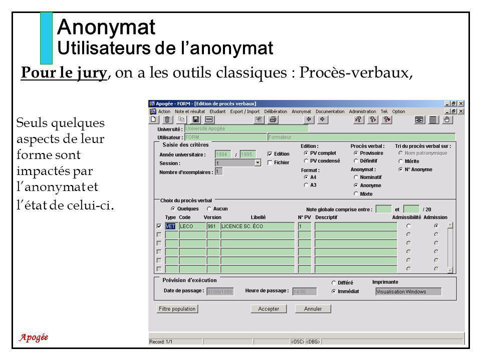Apogée Anonymat Utilisateurs de lanonymat Pour le jury, on a les outils classiques : Procès-verbaux, Seuls quelques aspects de leur forme sont impactés par lanonymat et létat de celui-ci.