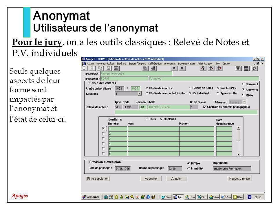 Apogée Anonymat Utilisateurs de lanonymat Pour le jury, on a les outils classiques : Relevé de Notes et P.V. individuels Seuls quelques aspects de leu