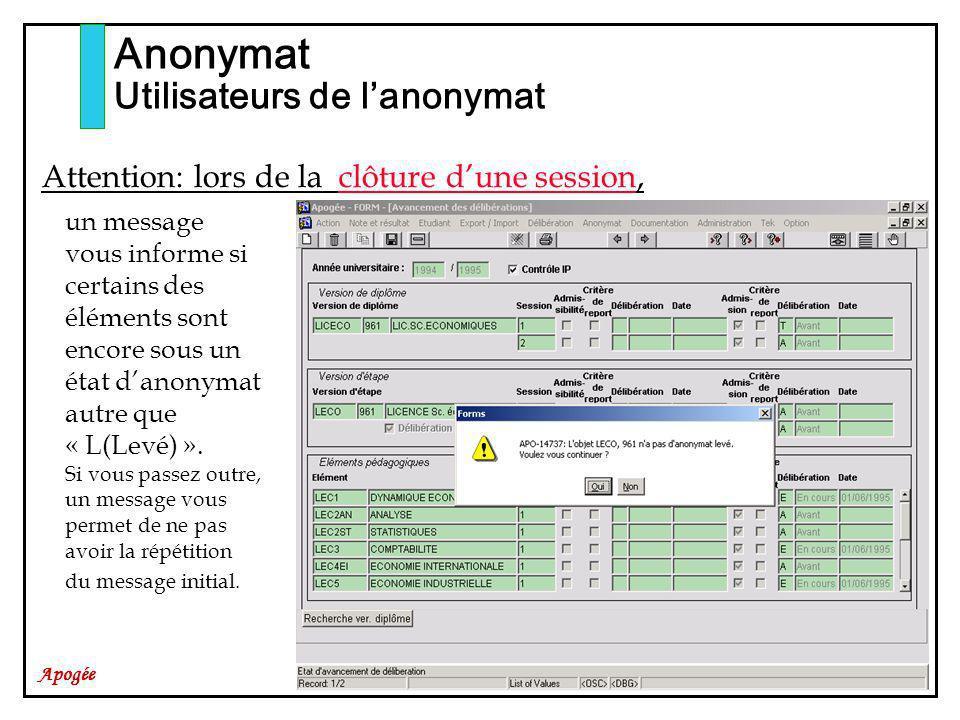 Apogée Anonymat Utilisateurs de lanonymat Attention: lors de la clôture dune session, un message vous informe si certains des éléments sont encore sous un état danonymat autre que « L(Levé) ».