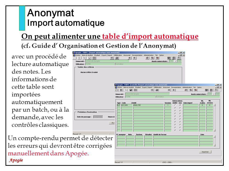Apogée Anonymat Import automatique On peut alimenter une table dimport automatique (cf. Guide d Organisation et Gestion de lAnonymat) avec un procédé