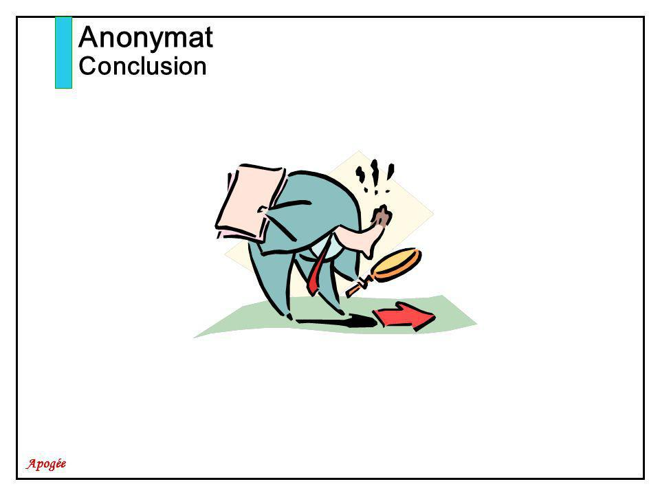 Apogée Anonymat Conclusion