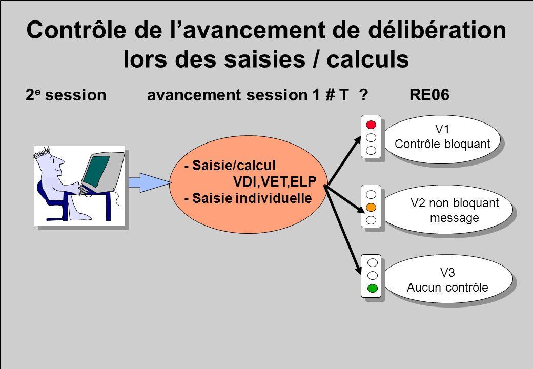 Contrôle de lavancement de délibération lors des saisies / calculs - Saisie/calcul VDI,VET,ELP - Saisie individuelle 2 e session avancement session 1 # T .