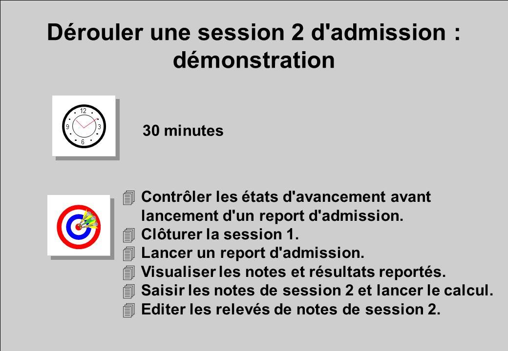 Dérouler une session 2 d admission : démonstration 12 6 3 9 30 minutes 4Contrôler les états d avancement avant lancement d un report d admission.